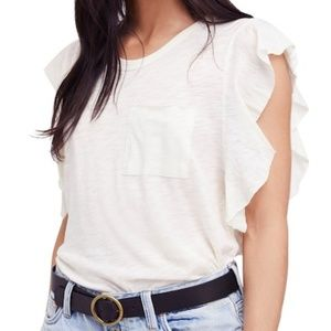 Free People So Easy Tee White Size Large